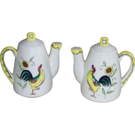 salt and coffee coffee pot salt and pepper shakers with roosters from