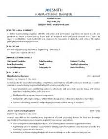 Engineer Resume Objective by Manufacturing Engineer Resume Exle Mechanical Engineering
