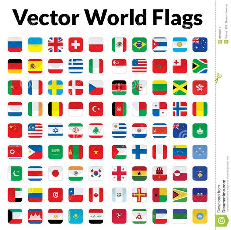 flags of the world vector images vector world flags stock vector illustration of rounded