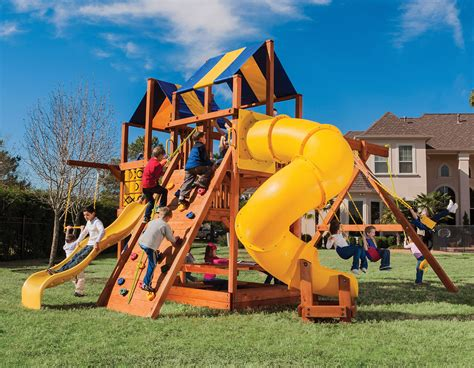 treefrog swing sets 7 0 bengal fort doubledecker config 2 with spiral slide