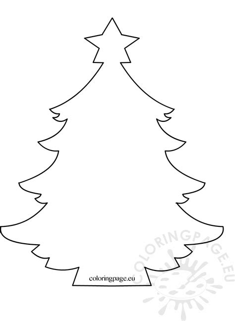 christmas tree with star template coloring page
