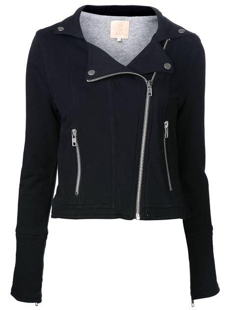 black moto jacket lyst chaser moto jacket in black