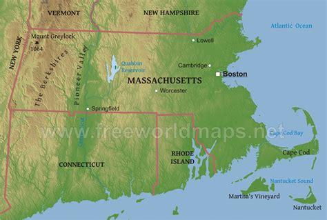 massachusetts physical map physical map of massachusetts