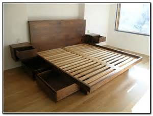 Easy Bed Frame With Storage Diy Platform Bed With Storage Drawers Plans