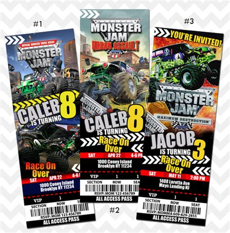 monster jam truck tickets ithinkparty monster jam invitation online store