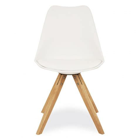 eames inspired style white dining chair with pyramid style