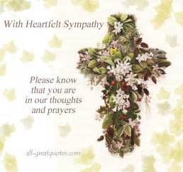 with heartfelt sympathy please know that you are in our thoughts and prayers sympathy card