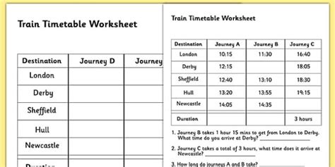 time table sheets timetable worksheet timetables reading timetables