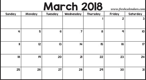 printable calendar for march 2018 march 2018 printable calendar templates