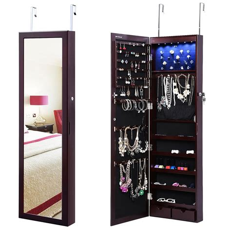 jewelry cabinet mirror with led lights amazon nice buys on lockable jewelry cabinets w lighted