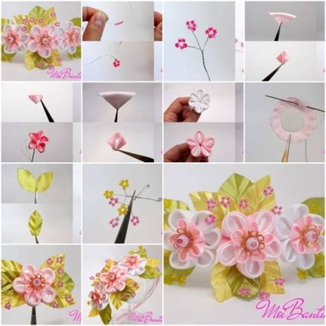 free patterns and instruction on making flower hair clips how to make golden sakura ribbon flowers step by step diy