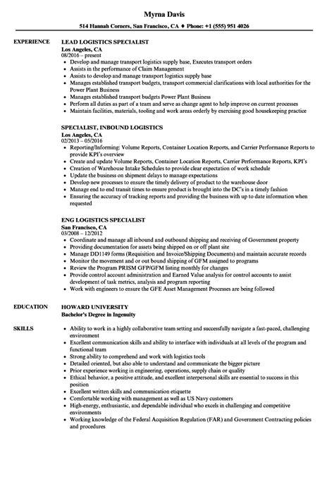 Specialist Logistics Resume Sles Velvet Jobs Logistics Resume Template