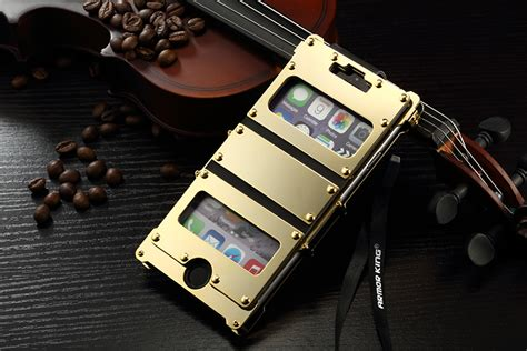 Alumunium Stainless Steel Leather Protector Iphone 6 Plus 6s Plus armor king 174 apple iphone 6 plus 6s plus iron dual window stainless steel shell riveted