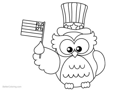patriotic coloring pages patriotic coloring pages owl with flag free printable