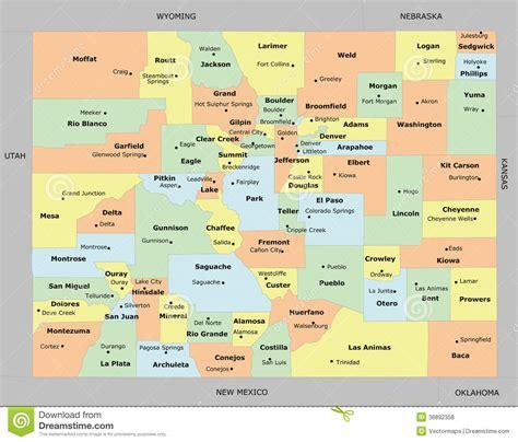 counties colorado map colorado county map stock vector image 38892358