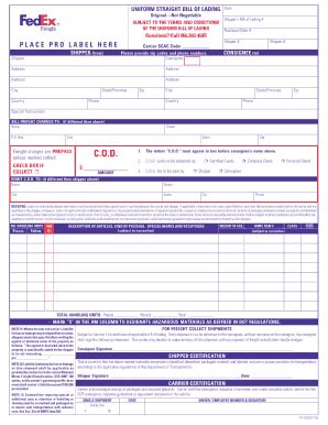 printable freight invoice fedex freight bill of lading www pixshark com images