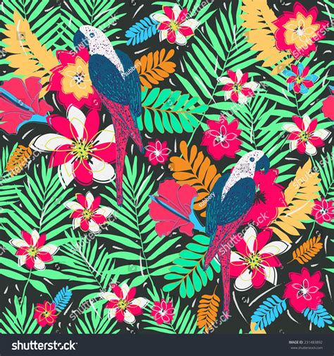 pattern nature colorful seamless pattern palm leaves parrotscolorful nature stock