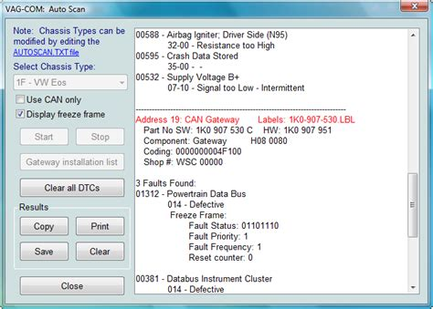Scan Wizzy X Freeze Supply Co vw polo 01044 module incorrectly coded