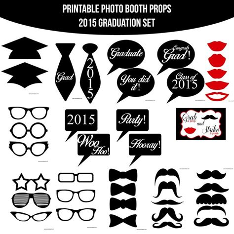 printable photo booth props graduation instant download grad 2015 printable photo booth prop set