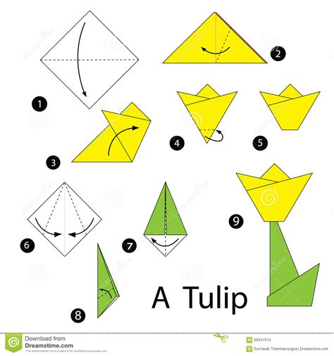 How To Make A Paper Tulip - step by step how to make origami tulip stock