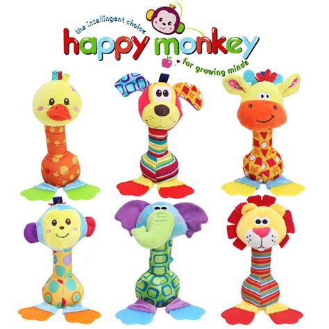 Diskon Happy Monkey Rattle Stick 22cm wholesale rattles baby plush soft bell with