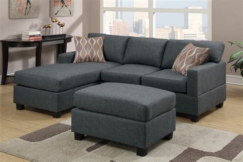 Blue Grey Fabric Reversible Chaise Sectional Sofa With Ottoman Blue Sectional Sofa With Chaise