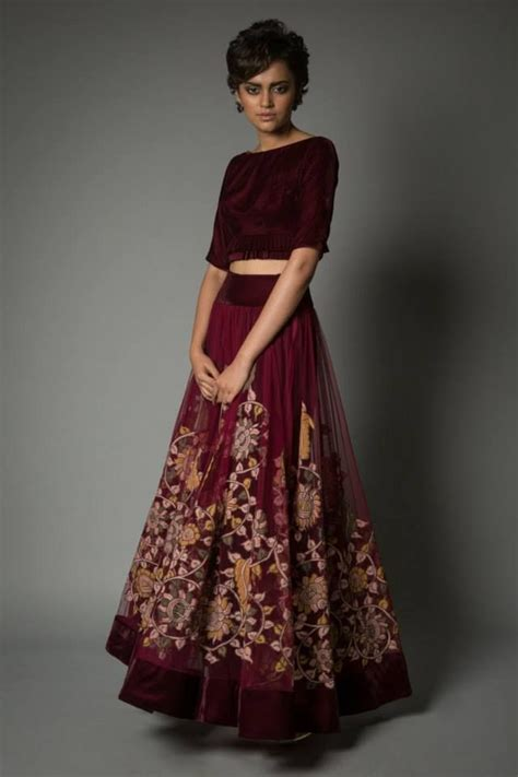 Maxi Maron floral lengha by neeta lulla bridal lengha receptions skirts and indian bridal