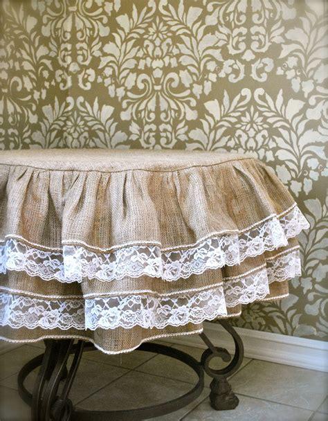 Burlap And Lace Ruffle Tablecloth By Paulaanderika On Etsy Burlap Table Cloths