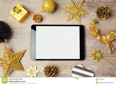 Digital Tablet Mock Up Template With Christmas Decorations On Wooden Background View Form Above Digital Mock Up Templates
