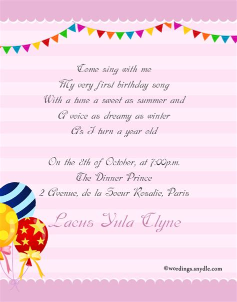 invitation wordings for year birthday 1st birthday invitation wording wordings and messages