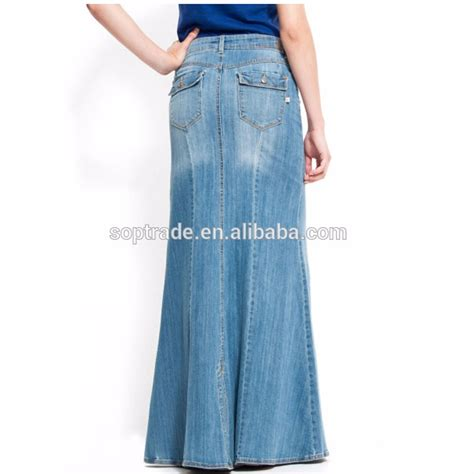 wholesale jean skirt high quality cotton maxi