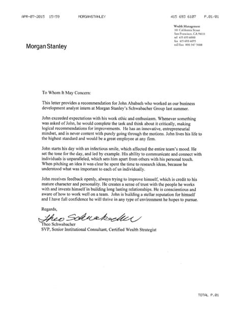cover letter for stanley stanley letter of rec