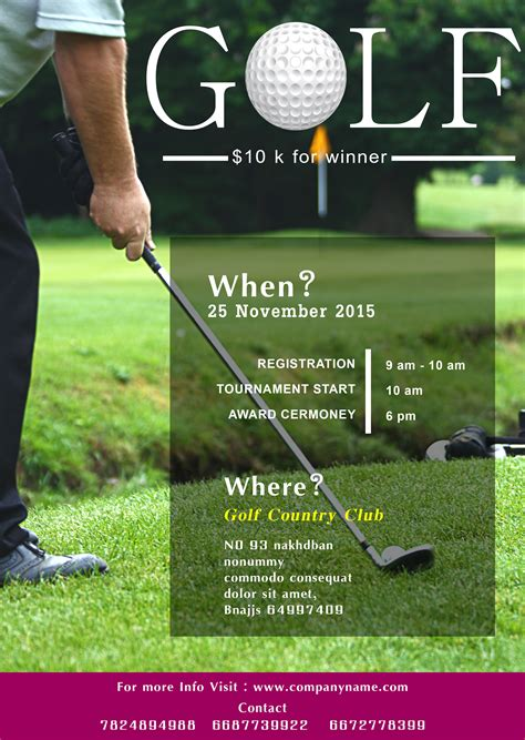 golf outing flyer template 15 free golf tournament flyer templates fundraiser charity flyers demplates