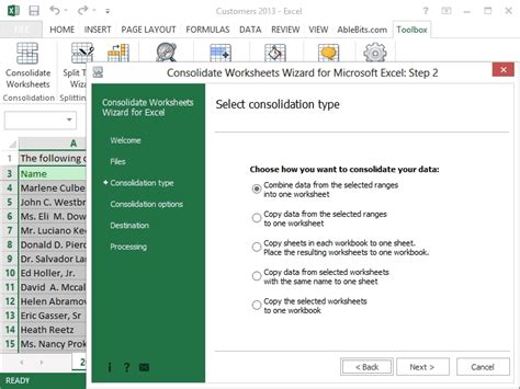 Combine Worksheets In Excel by Merge Excel Worksheets Into One Consolidate