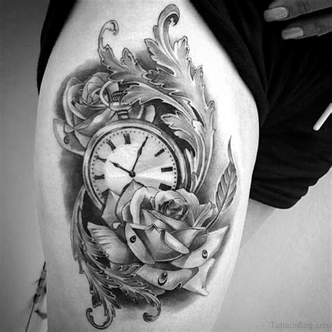 rose and clock tattoo 50 top class clock tattoos on thigh