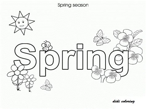 printable spring season with blossoming flowers coloring