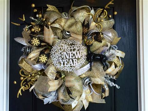 new year wreath new years deco mesh wreath new years by shellyschicdesigns