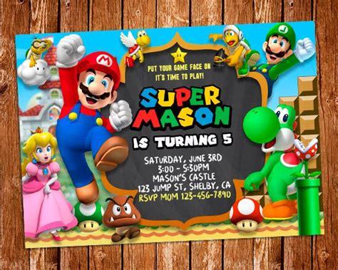 Super Mario Invitation Super Mario Printable Invitation Mario Bros Birthday Invitation Templates