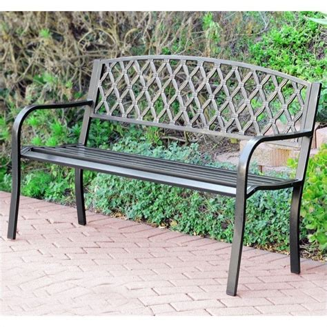 metal park bench 50 in flowers curved back steel park bench black