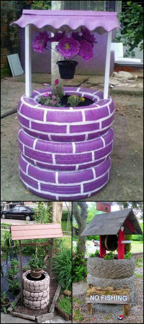 how to diy old tire garden ideas recycled backyard cool wishing well recycled tires and make a wish on pinterest
