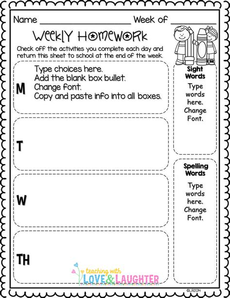 homework template editable weekly homework checklists compatible with