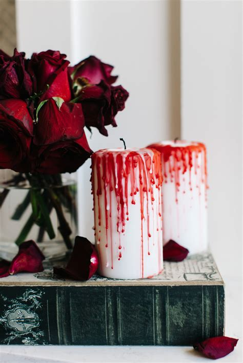 Diy Bloody Candles by How To Style A Creepy Mantel The Tomkat