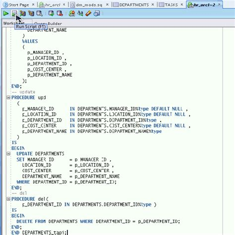 testing and debugging procedures using sql developer