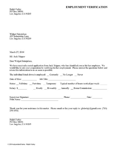 Rental Application Letter Of Employment printable sle rental verification form form real