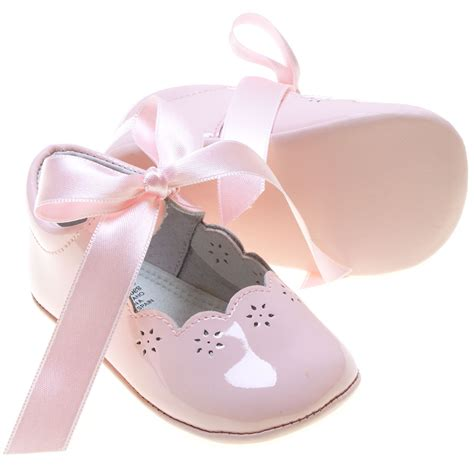 baby pink patent leather shoes with ribbons