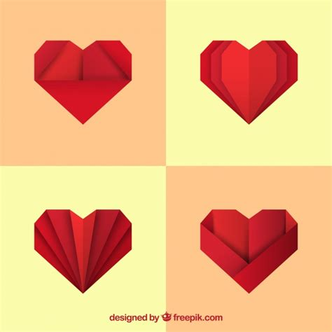 Origami Pack - pack of origami hearts vector free