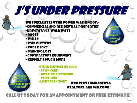 J S Under Pressure Power Washing Flyer Templates Free