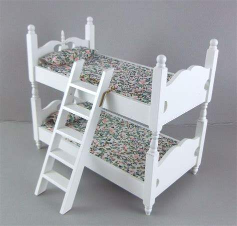 dolls house miniature  bedroom furniture white wooden bunk beds bunkbeds ebay