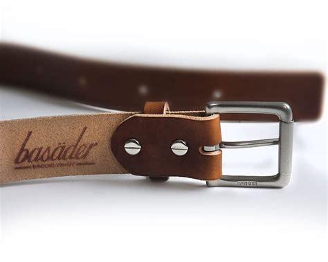 Mens Handmade Leather Belts - mens handmade medium brown veg leather belt basader