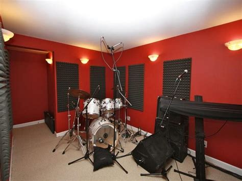 home studio wall design minimalist home music studio with red paint colors for